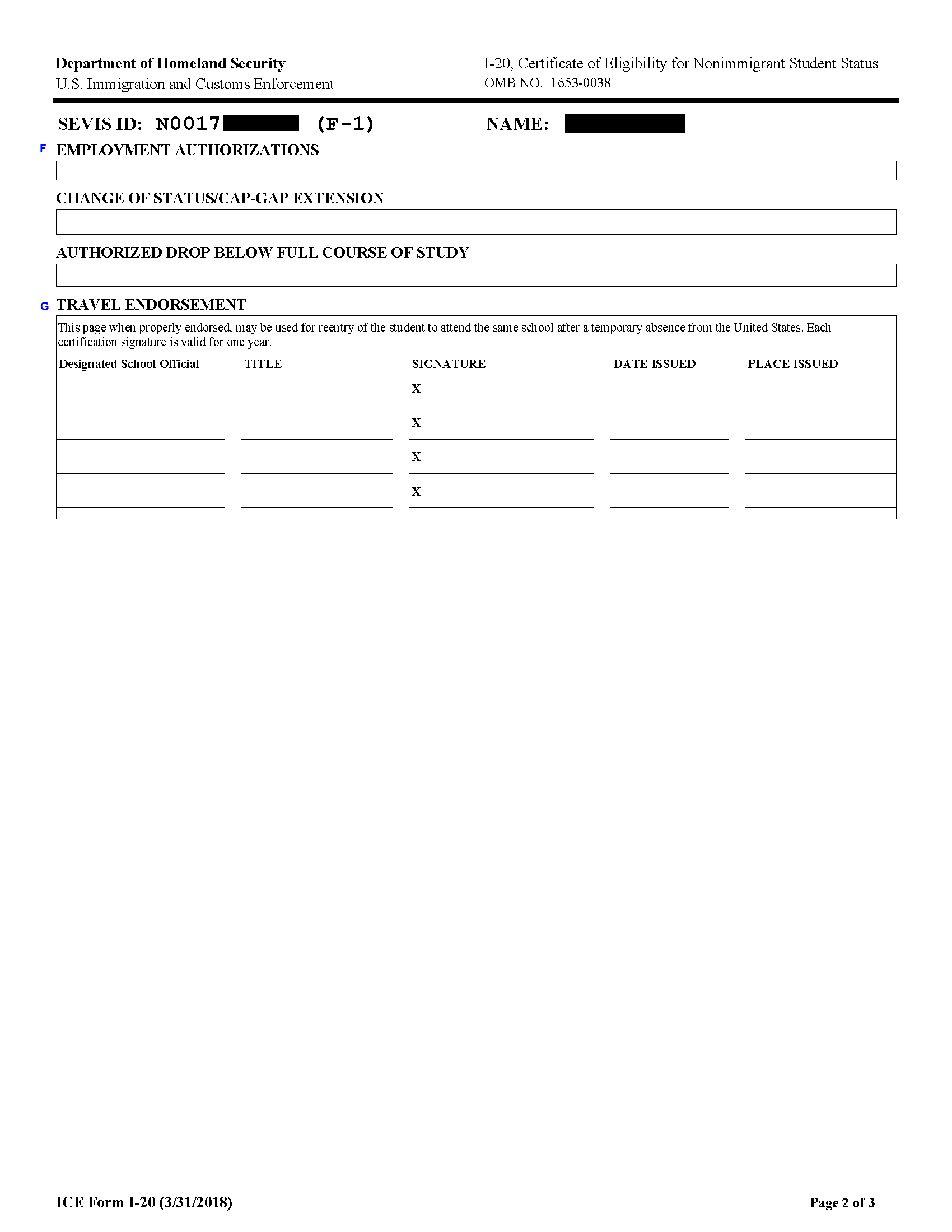 Certificate Of Eligibility I 20 Or Ds 2019